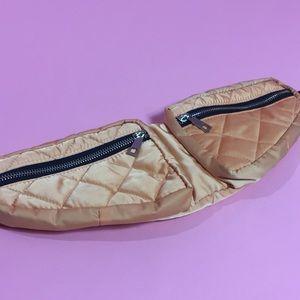 Orange Double Pocket Fanny Pack Sling Waist Bag
